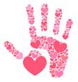 Handprint of hearts vector image