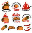 mexican food nachos burrito taco design elements vector image