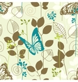 Butterflies and leaves retro seamless pattern vector image