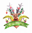 Christmas decoration - Deer and birds vector image