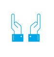 silhouette businessman hands up with fingers vector image