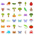 Wildlife icons set cartoon style vector image