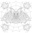 Zentangle stylized Bat with fall autumn leaves on vector image