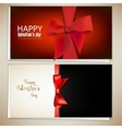 Beautiful greeting cards with red bows and copy vector image vector image