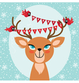 Birds and Christmas reindeer vector image vector image