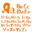 handwritten by a textured brush alphabet vector image