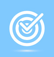Checkmark white symbol over blue background vector image
