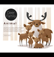 Cute animal family background with Deers vector image