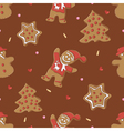 Gingerbread seamless pattern for christmas vector image