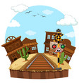 railway track in the cowboy town vector image