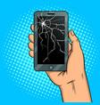 smart phone and broken screen pop art vector image