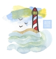 Watercolor print with lighthouse on the white vector image