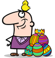 man with easter eggs and chicken cartoon vector image vector image