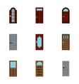 Exterior doors icons set flat style vector image vector image