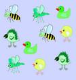 pattern bee chicken crow mosquito duck vector image