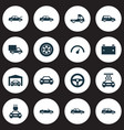 auto icons set collection of drive control wheel vector image