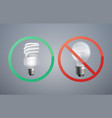 fluorescence and incandescent bulbs vector image
