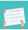Hand doing sign about spring plans vector image