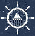 Nautical logo with a sail boat inside steering vector image