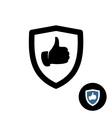 Shield with like hand thumbs up icon vector image