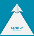 startup concept paper airplane on blue background vector image