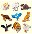 sticker design with cute animals vector image