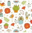 Seamless pattern with plants birds leaves and vector image