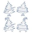 christmas trees set musicians vector image
