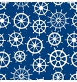 Blue seamless pattern with ship helms vector image