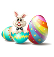 A rabbit inside a cracked easter egg vector image