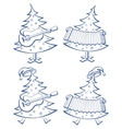 christmas trees set musicians vector image