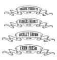 Farmers market emblem ribbon Monochrome medieval vector image