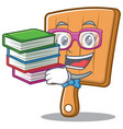 Student with book kitchen board character cartoon vector image