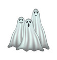 three ghosts in ligh-blue design with face vector image