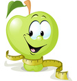 cute apple smiling with tape measure - vector image