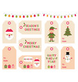 christmas and new year gift tags vector image vector image