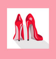 red sexy shoes on pink background vector image