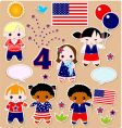 children set fourth of July vector image