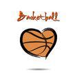 basketball ball shaped as a heart vector image