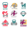 gym and fitness club sport icons set vector image
