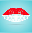indonesia flag lipstick on the lips isolated on a vector image