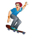 man on a skateboard vector image
