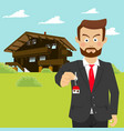 realtor showing house key in front of house vector image