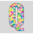 Color Piece Puzzle Jigsaw Letter - Q vector image