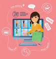electronic commerce with online shopping and vector image
