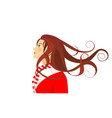 girl in christmas colors vector image