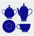 tea set tableware blue icons vector image