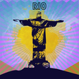 abstract rio design in outlines with statue over vector image vector image