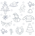 Hand draw christmas object of doodles vector image