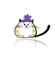 Funny cat in fashion hat for your design vector image